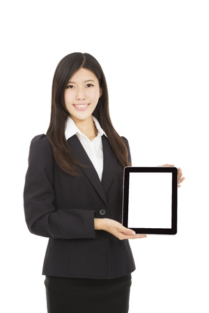 beautiful Asian Businesswoman with tablet pc photo