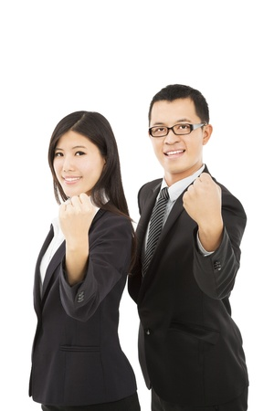 asian working woman: happy business couple with success gesture