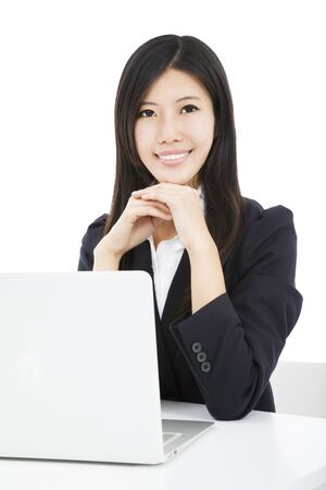 smiling asian businesswoman with laptop Stock Photo - 18461594