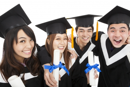 master degree:  happy  young graduate students group