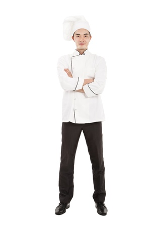 asian chef: happy  young chief isolated on white