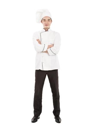 cocinero: jefe feliz joven aislado en blanco
