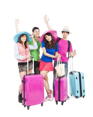 viajero: grupo de j�venes felices disfrutando de las vacaciones de verano y los viajes Foto de archivo