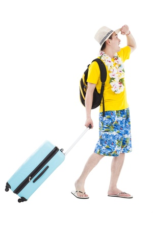 happy young man enjoy summer vacation and holiday Stock Photo