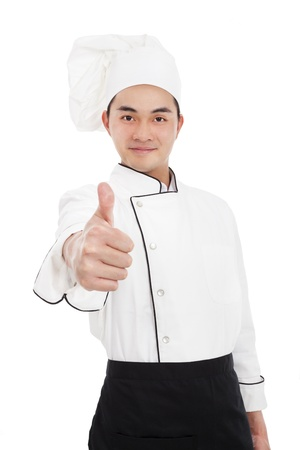 asian chef: young chief with thumb up gesture