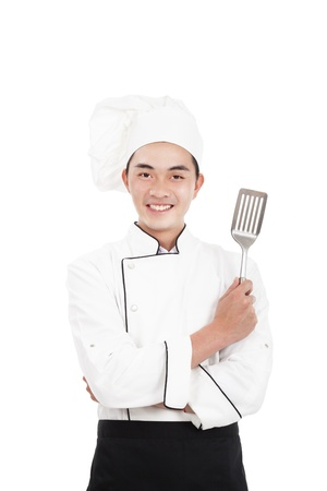 asian chef: happy young chinese chief  Stock Photo