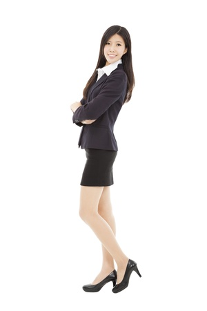 full length asian businesswoman isolated on white background Stock Photo - 18574227