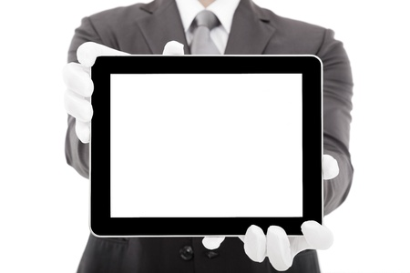 businessman holding tablet pc with blank screen photo