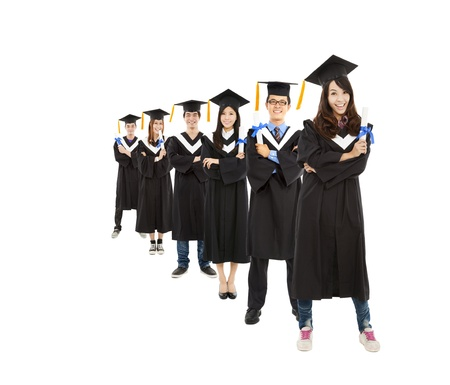 bachelor:  happy  asian young graduate students group Stock Photo