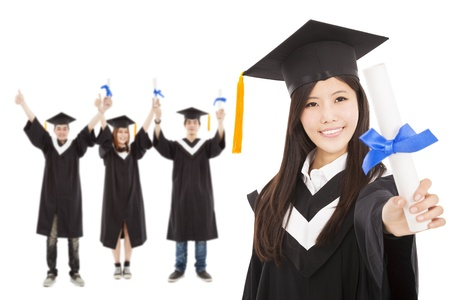 happy  graduate girl and  students  Stock Photo - 18623594