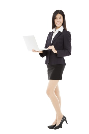 young asian businesswoman holding laptop  photo