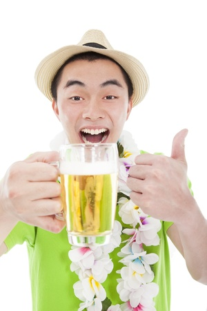 happy young man drinking beer and enjoy summer vacation photo