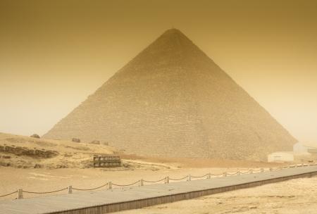 cheops: Cheops pyramid  in sandstorm