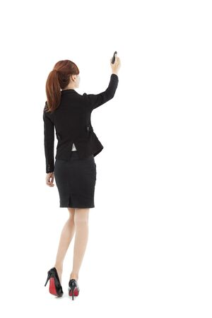 businesswoman drawing on the white background photo