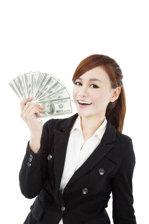 cash on hand: happy businesswoman with money