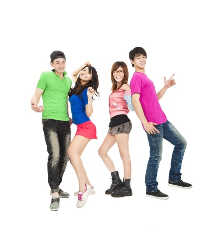 exiting: young group of casual, smiling and dancing Stock Photo