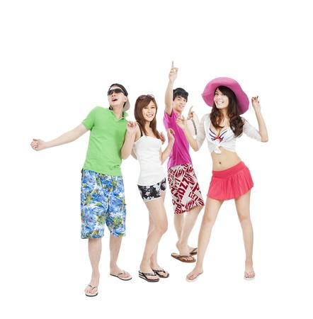 hot asian: Группа летних молодых людей, танцующих вместе