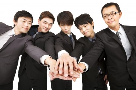 agree: asian business team with hand together  Stock Photo