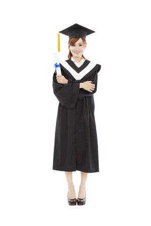 full length beautiful young graduation woman  photo