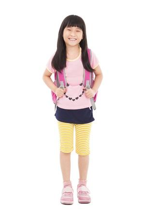 full length of happy little girl standing