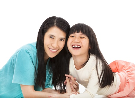 happy little girl  with her mother photo