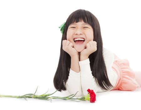 happy little girl with carnation flower for mothers day photo