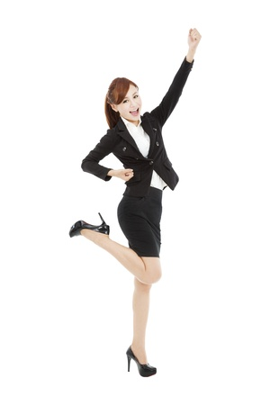 happy young asian business woman with success gesture Stock Photo - 19223411