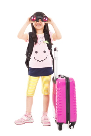 happy little girl holding telescope and travel suitcase Stock Photo - 19223468