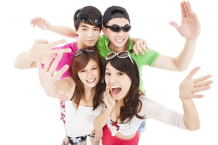 happy asian young group enjoy summer party photo