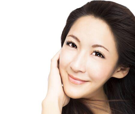 mooie jonge Aziatische vrouw gezicht Stockfoto
