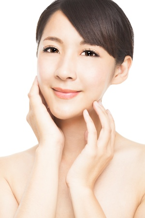 beautiful asian young woman with skin care photo