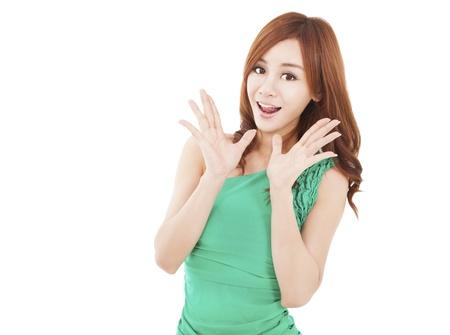 anunciar: mujer joven sorprendido con gritos Foto de archivo