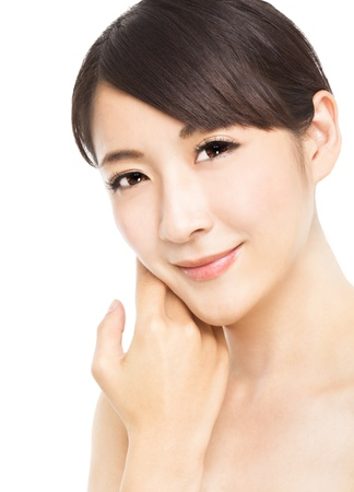 beautiful  young woman with skin care photo