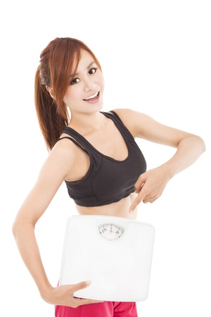 young woman holding weight scale and finger pointing it photo