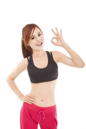 happy young fitness woman with ok gesture photo