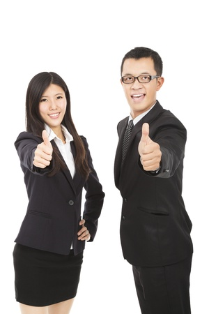 happy business man and woman with thumbs up photo