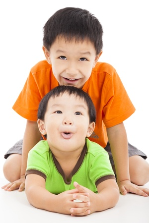 bother: happy little boy playing with his bother  Stock Photo
