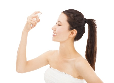 moisture: young woman with skincare and moisture concept Stock Photo