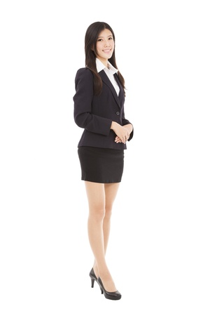full length  business woman standing with isolated on white background photo