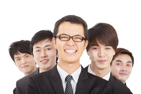 happy businessman with business team photo