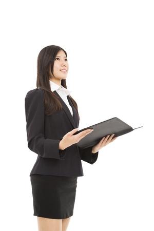 smiling businesswoman holding folder isolated on white Stock Photo - 20020714