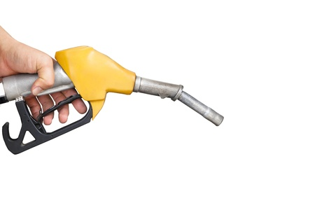 refuel: hand holding gas pump nozzle isolated on white Stock Photo
