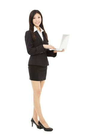 smiling businesswoman holding laptop isolated on white background photo