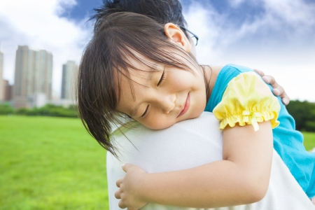smiling little girl sleeping on his father shoulder Stock Photo - 20573763