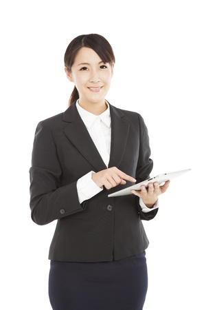 beautiful Business woman with tablet pc photo