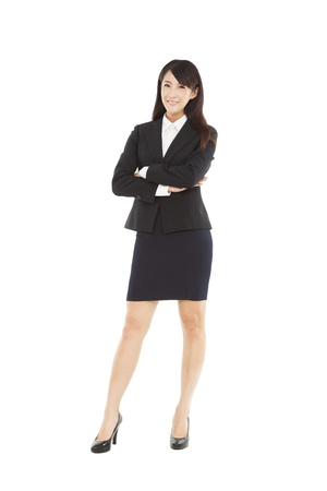 full length beautiful businesswoman standing with isolated on white background Stock Photo - 20838292