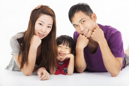 Happy asian family isolated on white Stock Photo - 21492408