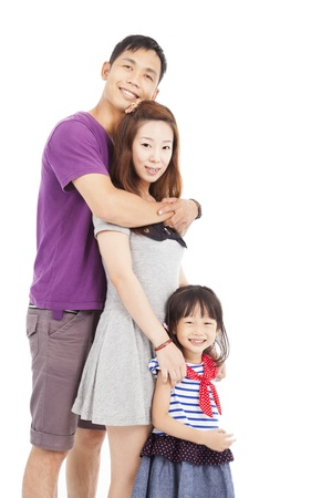 Happy asian family isolated on white Stock Photo - 21492410