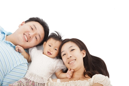 niemowlaki: Szczęśliwy asian rodziny na białym tle Zdjęcie Seryjne