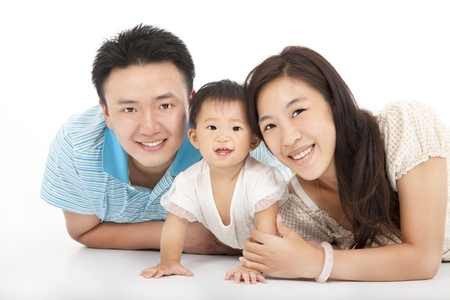 Happy  family isolated on white Stock Photo - 21492425
